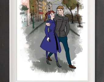 Paris wall poster - Illustration Poster lovers (21 x 29, 7 cm) A4 or A3 (29, 7 x 42 cm) french Lovers