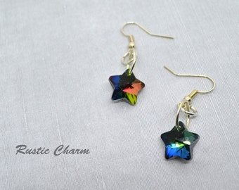 Faceted Multicolour Glass Star Earrings