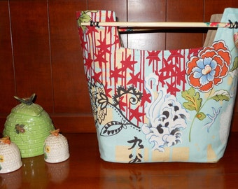 Small Purse Clutch Chopsticks Blue Dragon and Flowers