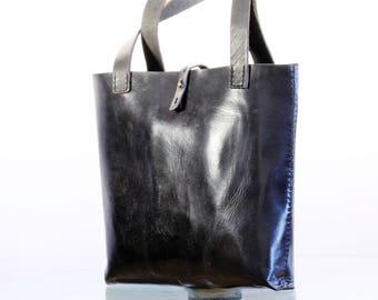 Tote Black leather bag/ Shopper/Shoulder bag