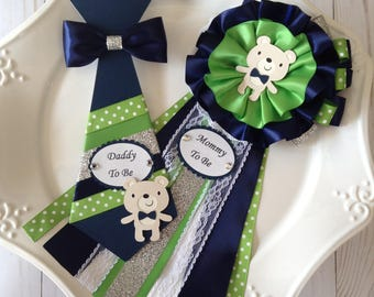 Navy blue and green baby shower corsage/Mommy to be bear ba shower corsage/Daddy to be tie/Boy Bear Baby Shower corsage
