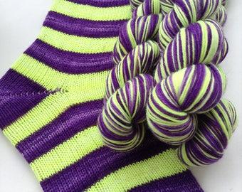 Hand dyed self striping merino sock yarn - Deadlights