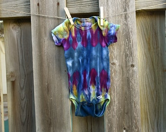 Tie Dye Bodysuit Romper-Boys or Girls Infant Bodysuit- Blue Purple Green-3 to 9 months-Hippie Kid-100% Cotton