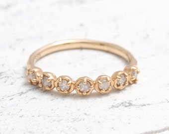 0.03ct Milky White Natural Raw Diamonds Solid Gold Band Ring