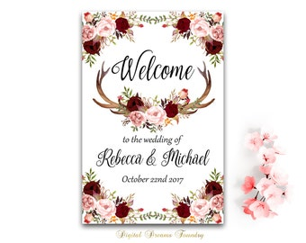 Wedding Welcome Sign Printable Welcome Burgundy  Floral Wedding Sign Blush Pink Wedding Welcome Sign Boho Wedding Decoration with Antlers