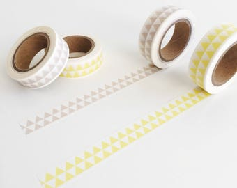 Triangle Pattern Washi Tape 10m, pretty planner supplies, scrabooking craft tape, bunting washi tape, card making, yellow banner washi tape