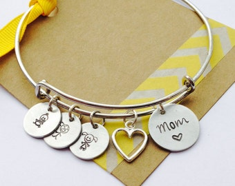 Adjustable Bangle Bracelet, Family Bracelet,  Personalized Initial Bracelet, Mommy Bracelet