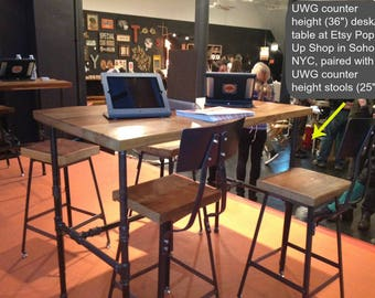 "industrial desk with reclaimed wood and pipe legs, 48""L x 26"" Wx 30"" H, 1.65"" top with 1 drawer included"