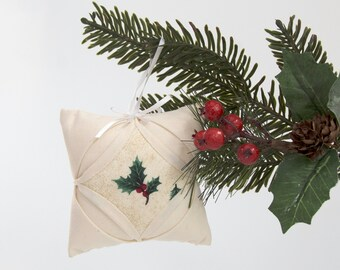 Quilted Cathedral Window Pillow Ornament  - Holly