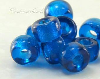 Czech Roller Beads 10 Pcs Rondelle 0022 Fuchsia w//Copper Lining 3mm Hole