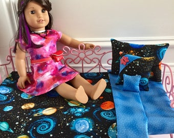 """18"""" Doll Bedding Set/4pc Bedding Set/Outer space bedding/American Girl Luciana/Luciana GOTY 2018/STEM/Outer space"""