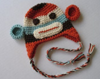 CROCHET PATTERN colorful sock monkey hat earflap beanie newborn baby child toddler adult sizes DIY costumes