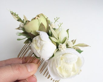 Ivory silk floral bridal comb- flower comb- rustic wedding headpiece- bridal comb