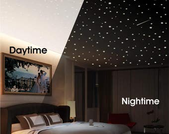 Ceiling Stars, Star Scene, Stars and Moon Scene, Glow Stars, Glowing Stars, Glow in the dark stars, Realistic glow stars, removable decor
