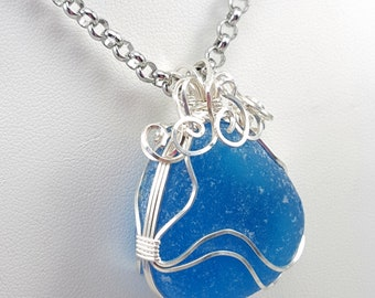 Sea Glass Jewelry Electric Blue Sea Glass Necklace Sea Glass Pendant Blue Sea Glass Pendant Necklace N-625 Mothers Day Gift Idea