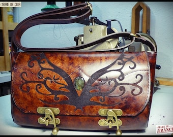 "Idily bag ""arabesque"" - vegetable tanned leather-"