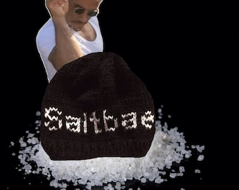 Saltbae knitted hat beanie black and white, ready to ship