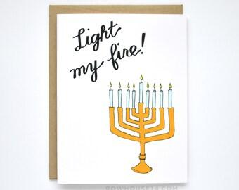 Funny Hanukkah Card - Sexy Hanukkah Card - Light My Fire - Channukah Card - Menorah