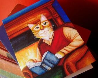 Orange Tabby Cat Reading Book 5x7 Greeting Card