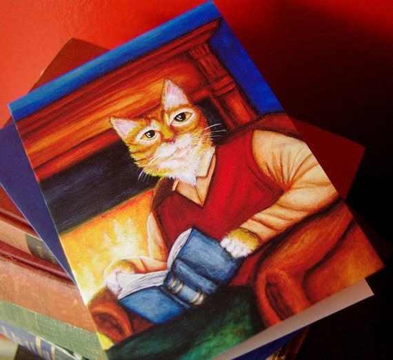 Orange Tabby Cat Reading Book 5x7 Greeting Card