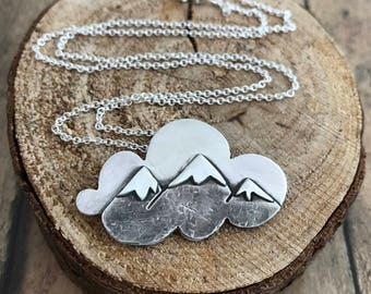 Mountain and Cloud Necklace, Hand Cut Sterling Silver, Mountain Daydreaming, Mountain on a Cloud Necklace