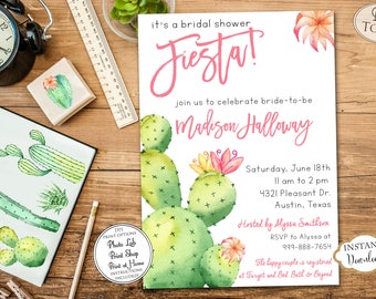 INSTANT DOWNLOAD - Fiesta Bridal Shower Invitation - Cactus Southwest Invite - Cactus Bridal Shower - Cinco De Mayo Succulent Southwest 0552