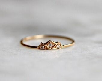 """14K Diamond """"Mountain"""" Ring, Mountain Stacking Ring, Triangle Ring, Diamond Stacking Ring, Midi Ring, Black Diamond, Blue Diamond, Outdoors"""