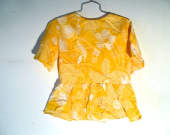 Vintage 60s Yellow Floral Handmade Blouse
