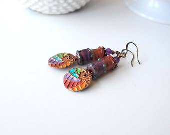 Rainbow Earrings, Starburst Earrings, Painted Copper Earrings, Colorful Lampwork Earrings, Unique Artisan Earrings, Boho Chic Earrings,