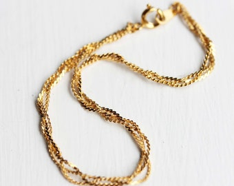 Braid Bracelet Gold, Braided Bracelet, Gold Chain Bracelet, Gold Braided Bracelet, Thin Gold Chain, Chain Bracelet, Gold Layering Bracelet