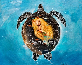 Mermaid Art, Flying to Your Dream, Fairytale Fantasy Wall Art, giclee print on canvas or paper by Shijun Munns, Signed limited edition