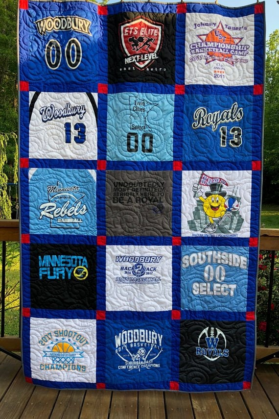 Tee Shirt Quilt, 15 T-shirt Quilt, UpCycled Quilts,  Deposit for T Shirt Quilts, Graduation Quilts
