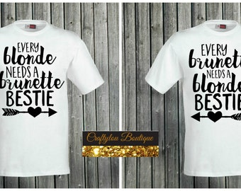 blonde brunette besties, blonde brunette bff matching shirts