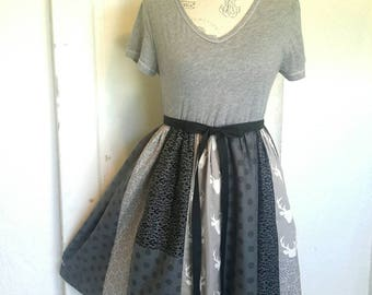 Upcycled Medium/Large Repurposed TShirt Dress Antler Dress Eco-Friendly Clothing