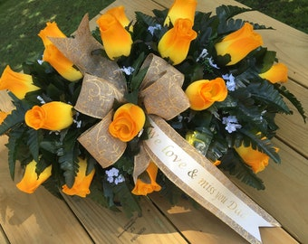 Headstone Saddle, Cemetery Flowers, Grave Decoration, Headstone Flowers, Cemetery Saddle, Grave Flowers, Memorial Flowers, for Spring