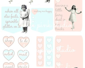 Sprinkle Glitter On It,  printable planner sticker sheet, vintage style, vintage ephemera