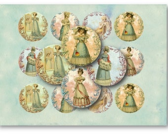 Jane Austen 2.5 inch Circles  for Jewelry Pendants - Digital Collage Sheet Download -752- Instant Download Printables