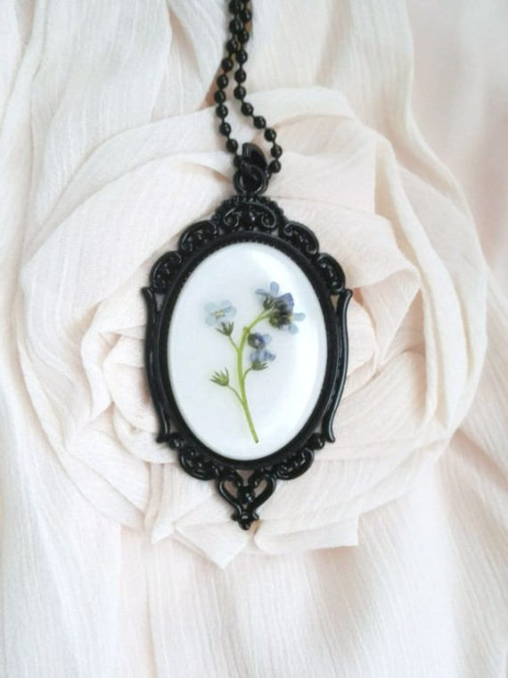 Goth necklace statement necklace real flowers victorian necklace pressed flowers memorial pendant black mourning necklace gothic wedding