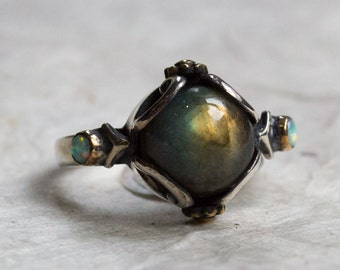 Labradorite Ring, engagement ring, silver gold ring, boho ring, Multi stone ring, unique ring for her, gypsy ring - Peace On Earth - R2216