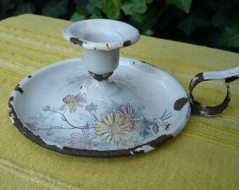 Old French Enamel candlestick