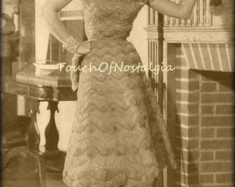 Exquisite EVENING Dress Crochet Pattern Vintage  -  Exquisite HAIRPIN Lace Evening Dress 4 Sizes / Timeless