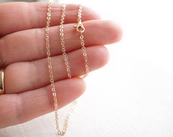 Dainty 14 to 18 inch Fine Rose Gold Chain Necklace Thin Link Chain Tiny Cable Oval Gold Filled Finished Necklace for Pendant Ready to Wear