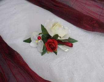 Ivory and Burgundy floral PIN for bride