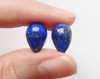 Royal Blue Lapis Lazuli Half Top Drilled Inverted Acorn Drops 8x12 mm One Pair G6931 F4074