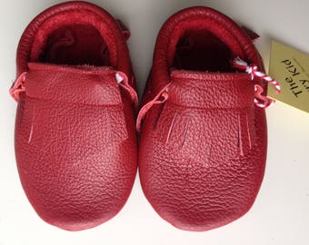Genuine red leather moccasins