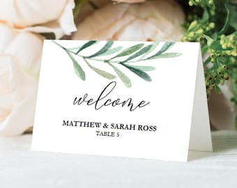 Wedding Place Cards - Greenery Wedding - Eucalyptus Place Card Download - Escort Cards PDF Template - Flat & Folded 2.5x3.5 inches - #GD3826