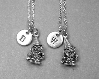 Best friend necklace, gnome necklace, gnome charm, garden gnome, best friend gift, BFF necklace, friendship jewelry, personalized necklace