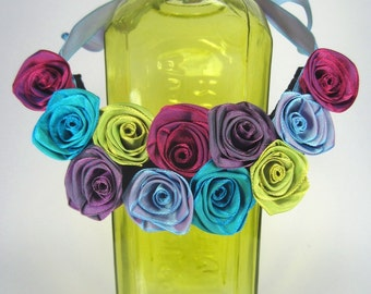 Unique bib statement necklace of ribbon roses -- French ribbon roses in mixed hues