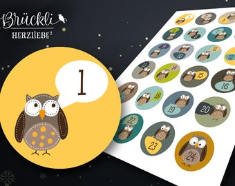 "24 sticker advent calendar numbers / numbers advent calendar for children ""OWL"""