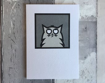 Cat Card, grey cat greetings card, hand-printed cat card, birthday card, thank you card, collectible card, frameable card
